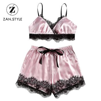 ZAN.STYLE Sexy Satin Lace Cami Shorts Women'S Set 2pcs V Neck Halter Lace Hem Bra Tube Top High Waist Bow Knot Tied Mini Shorts