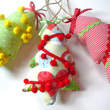 Christmas Tree Ornament - Fabric Christmas Ornament - Christmas Door Hangers - Holiday Decor