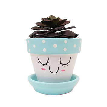 Terracotta Pot, Cute Planter, Face Planter, Succulent Planter, Flower Pot, Indoor Planter, Succulent Pot, Blue Planter, Nursery Decor Gift