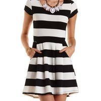 Striped & Pleated Skater Dress by Charlotte Russe