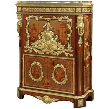 French Marquetry and Gilt Bronze Secretaire with Architecture Scenes