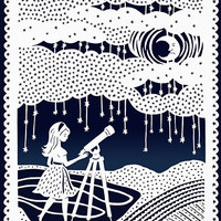 Original Papercut Illustration - Stargazing Night Sky - Girl and Telescope- 8x10 Print