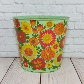 Vintage Small Metal Mint Green Retro Flower Trash Can Waste Basket JV Reed