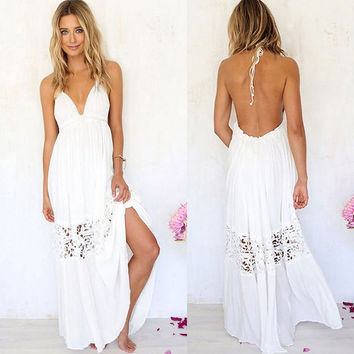 Fashion Women's White Sexy V-Neck Sleeveless Halter Dress Lace Hollow Out Party Maxiskit = 5617110593