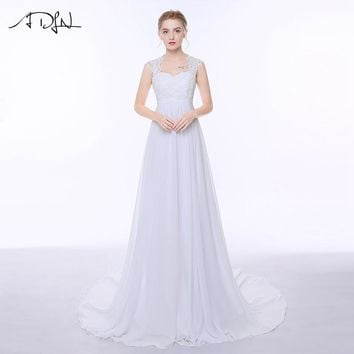 ADLN Pregnant Wedding Dresses Elegant Cap Sleeve Appliques Wedding Gowns Floor-length Chiffon Women Plus Size Bridal Dress