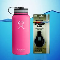 Hydro Flask 32 Oz Insulated Stainless Steel Water Bottle Pink + Straw Lid