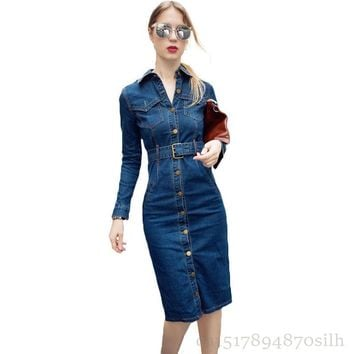 Trendy 2018 NEW Spring Summer Shirt Dress Women Vintage Long Sleeve Jeans Dresses Girls Fashion Package Hip Plus Size 6XL Denim Dress AT_94_13