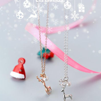 Christmas gifts - 925 sterling silver cute moose necklace + Nice gift box ALQ