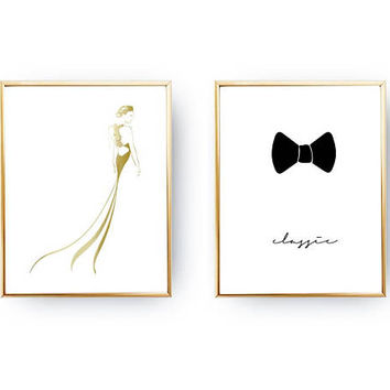 Set Of 2 Prints, Wardrobe Poster, Fashion Art, Home Decor, Gold Foil Print, Gown Silhouette, Minimalist Poster, Stylish Woman, Bow Print