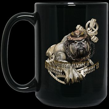 US Marine Corps Devil Dog BM15OZ 15 oz. Black Mug