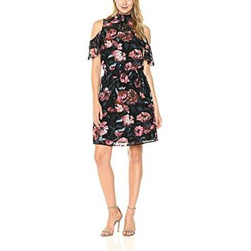 $139 New Ivanka Trump Womens Cold Shoulder Floral Print Black Multi Dress Size 16