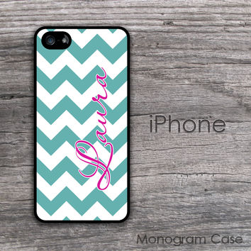 Bold teal chevron name or monogram iPhone case