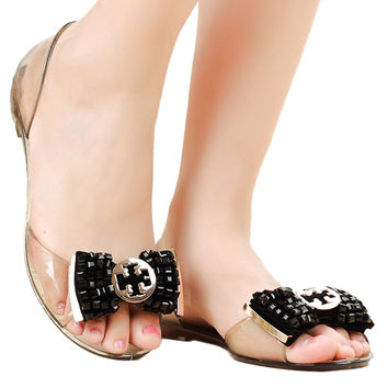Beads Roman Flat Jelly Shoes Beach Peep-toe Sandals  black  35