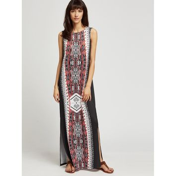 Ethnic Print Side Slit Maxi Dress