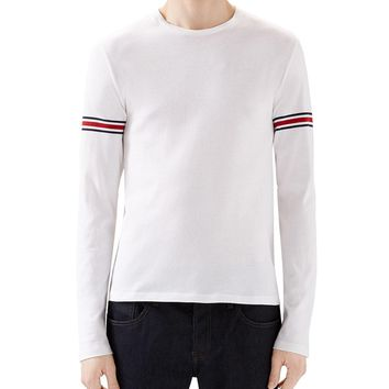 White Crew Long-Sleeve T-Shirt w/ Black/Red/Black Arm Band, Size: