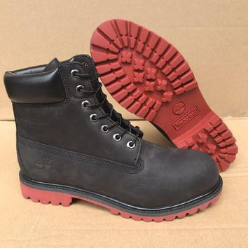 PEAPON Timberland Rhubarb Boots 10061 High Tops Black Red Waterproof Martin Boots