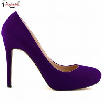 New Sexy Women Pumps Princess Elegant Thin Heel Shoes Spring Womens High Heels Platform Round Toe Purple Shoes SMYBK-003