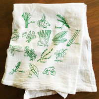 Green Herbs Tea Towel