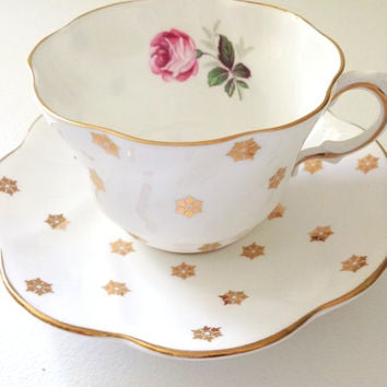 Vintage English Bone China Royal Taunton Teacup and Saucer Tea Party
