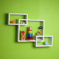 Danya B Intersecting White Laminate Wall Shelf