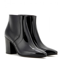 French patent leather ankle boots