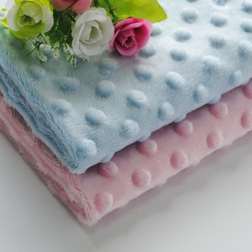 Free Shipping hot selling Soft Minky Dot Fabric Sold By Meter Popular Used As Baby Blanket Baby Bibs Baby Stroller
