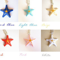Starfish necklace wish necklace Good luck charm by FlowerLandShop