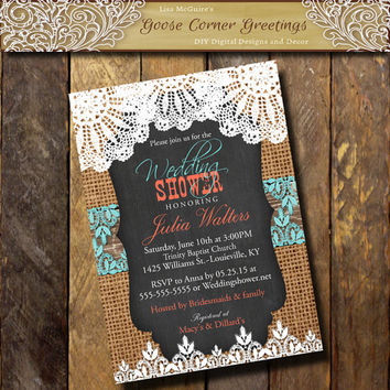 BURLAP Wedding Shower invitation Lace Doily Chalkboard Doily Bridal Shower invite Rustic invitation Birthday Baby Shower Teal Coral