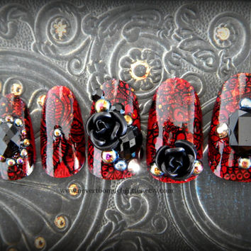 "Gothic Fake Nails ""Mourning Garden."" Goth, Nail Art, 3D Japanese Nail Art, Cosplay, False Nail, Press On Nail, Acrylic, Gothic, Victorian"