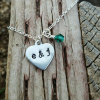Couples Initials Heart Necklace, Couples Necklace, Initial Name Jewelry, Heart Necklace, Hand Stamped, Bridal, Wife Girlfriend Gift