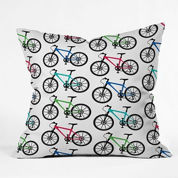 Andi Bird Ride A Bike White Throw Pillow