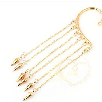 Stylish Punk Rock Rivet Chain Tassel Dangle Ear Cuff Earring For Women Gothic Ear Clip On Clip Clamp Trendy Girl SM6