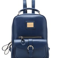 Tinksky® Vintage Retro British Wind Shoulders Bag Fashion Girl's Student Backpack School Bag (Blue)