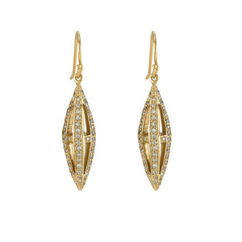 Melinda Maria Pyramid Cage Pave Earrings Gold White CZ