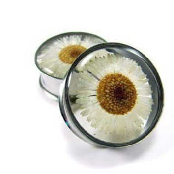 Embedded Flower Plugs gauges  1 11/8 11/4 by mysticmetalsorganics