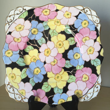Tuscan Hand Painted Vintage Plate, Black, Pink, Blue, Yellow Flower Cake Plate, English Floral Dessert Tray, China Dish