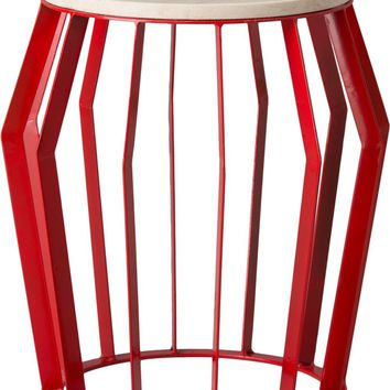 Large Billie Metal Stool/Table Powedercoated Red With A White Granite Top