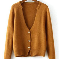 V-Neck Button Design Knitted Cardigan