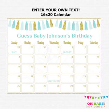 16x20 Due Date Calendar Blue and Gold Baby Shower Games Boy Editable Calendar Guess Baby's Birthday Printable Personalized Tassels TASBG