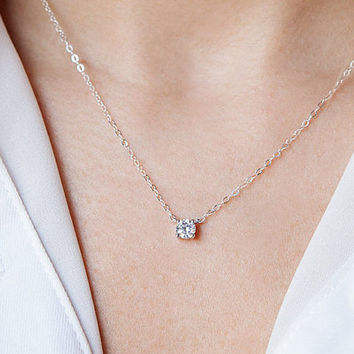 Floating Diamond Necklace, CZ Necklace, Dainty Silver Necklace, Solitaire Necklace Layering Necklace Minimalist Necklace CZ Diamond Necklace