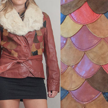 70s Brown Patchwork Leather and Fur Jacket | Womens S Small M Medium Fur Trim Collar Genuine Suede Leather Boho Penny Lane Blazer Coat 1970s