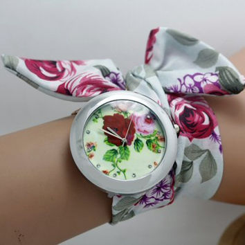 Ladies fabric watch. Floral cloth fabric wrap watch. Ladies floral watch. Wrist wrap watch