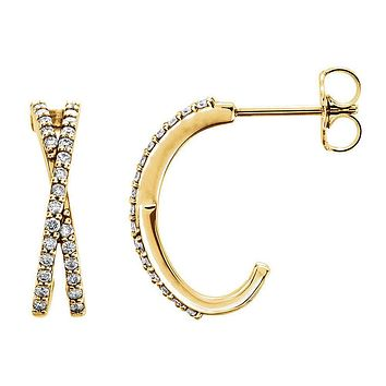 4 x 14mm 14k Yellow Gold 1/4 CTW (G-H, I1) Diamond Crisscross Earrings