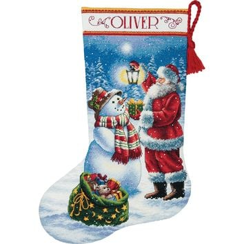 """Holiday Glow Stocking (18 Count) Dimensions Gold Collection Counted Cross Stitch Kit 16"""" Long"""