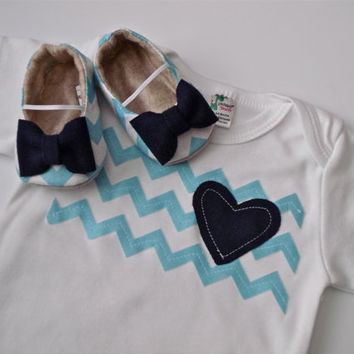 NEW Chevron Pink/Blue Girl Shoe/Onesuit Combo  by JolieBerry