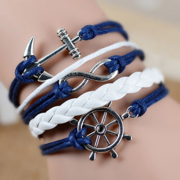 Fashion Vintage Infinity Anchor Hook Artificial Leather Bracelet Men Women Steering-Wheel Bracelets & Bangles Jewelry 2pcs/lot