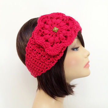 FREE SHIPPING - Crochet Ear Warmer Headband, Flower - Pink, Hot Pink, Bright Pink