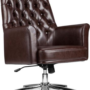 Mid-Back Traditional Tufted Brown Leather Executive Swivel Office Chair with Arms [BT-444-MID-BN-GG]