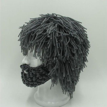 Christmas Hat Wig Beard Hats Hobo Mad Scientist Rasta Caveman Handmade Knit Warm Winter Caps Men Women Halloween Gift Funny Party Mask Beanies [9305828423]