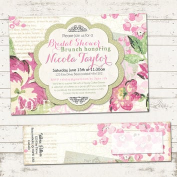 Bridal Shower Invitation with Wrap Around Address Labels - Shabby chic, Paris, vintage inspired, pinks and green floral - Custom